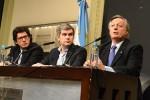 Aranguren, Peña y Garavano, durante la conferencia en la que anunciaron cambios en el cuadro tarifario