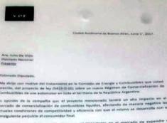 La nota enviada por la petrolera solicitando su presencia en la Comisión de Energía y Combustibles